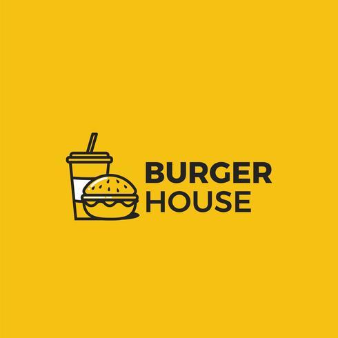 Logo de la maison de hamburger classique américain. Logotype pour restaurant ou café ou restauration rapide. Illustration vectorielle