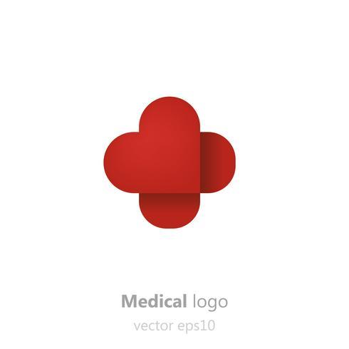 Logotipo de Concept Medical. Adhesivo de parche en forma de corazón. Logotipo para clínica, hospital o médico. Vector ilustración gradiente plana
