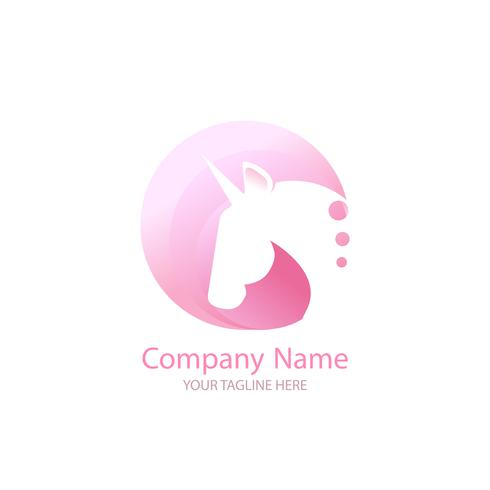 Logo with a unicorn for your company. Pegasus Icon. Gradient vector flat line illustration.