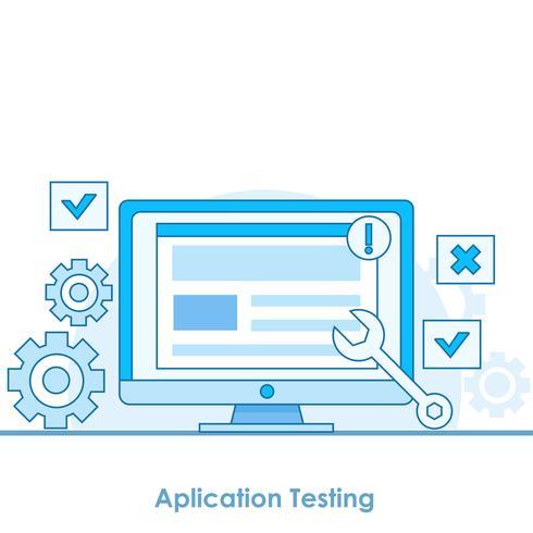 App-Test-Banner. Ein Computer mit einem Testfenster und Programmen. Benachrichtigungen und Getriebe. Flache Vektorgrafik