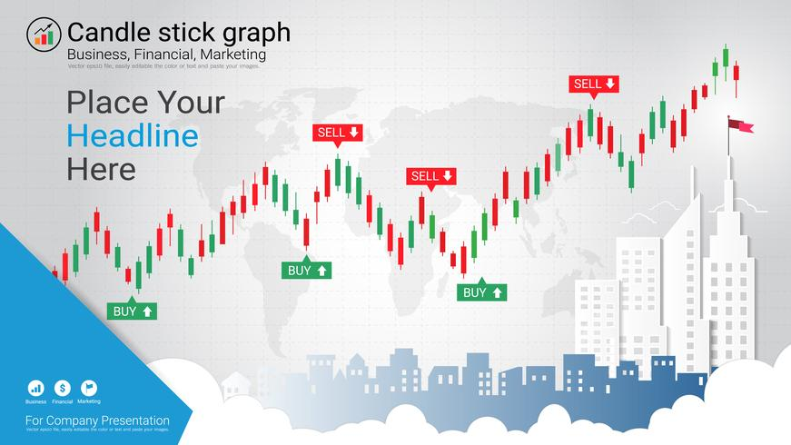 Candlestick patterns is a style of financial chart. vector