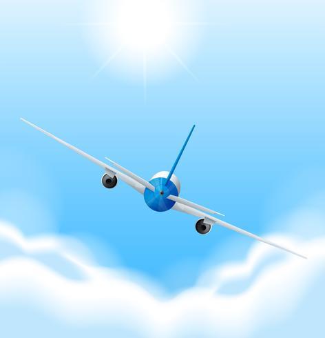 L'arrière de l'avion vole dans le ciel