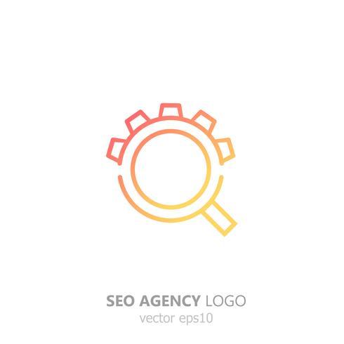 SEO-byråns logotyp. Förstoringsglas med redskap. Sök och inställningar. Vektor lutning platt illustration