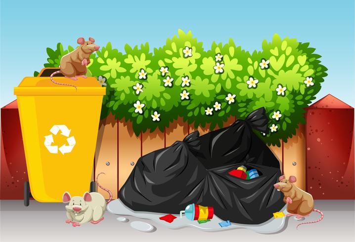 Scena con sacchi della spazzatura e topi vettore