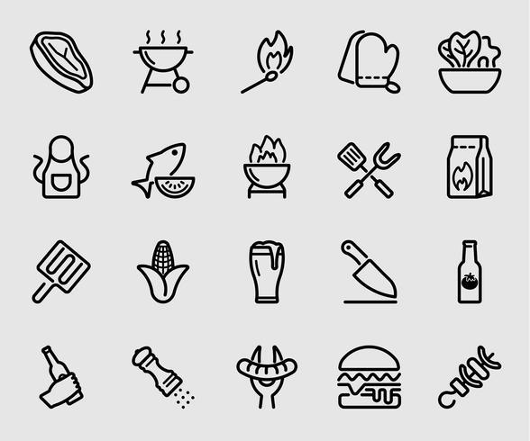 Ícone da linha de churrasco