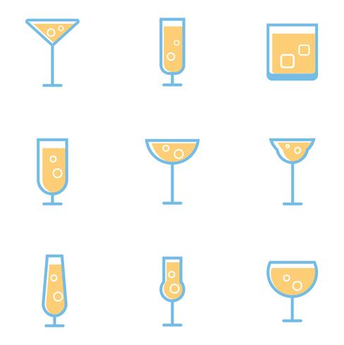 set of simple cocktails and alcohol drinks vector
