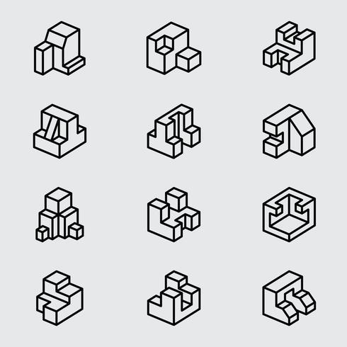 Basic isometric line icon vector