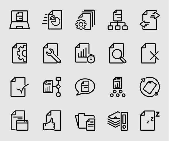 Icono de línea de flujo de documentos de negocios