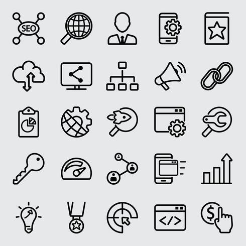 Internet SEO lijn pictogram