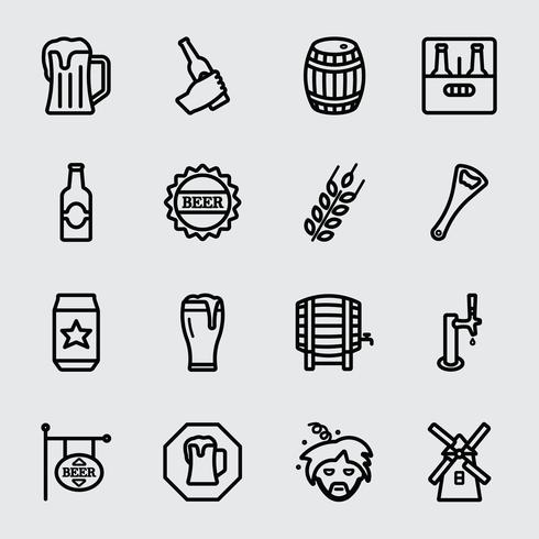 Beer line icon vector