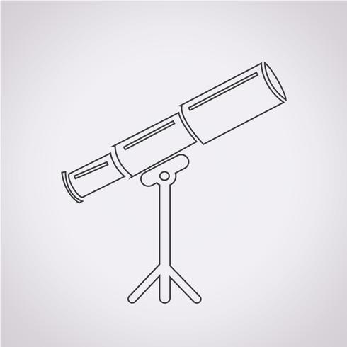 Signo de símbolo de icono de telescopio vector