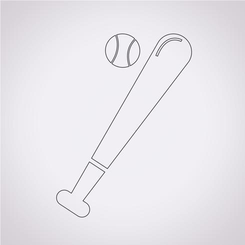 Segno di simbolo dell'icona di baseball vettore