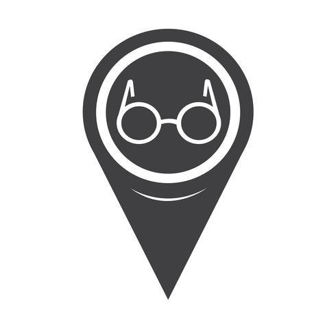 Kaart aanwijzer glazen pictogram