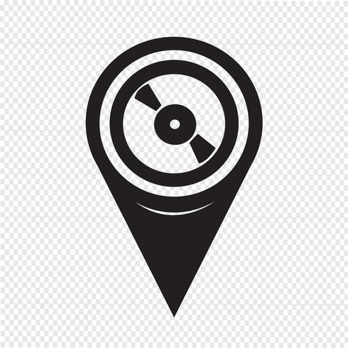 Map Pointer Retro ícone de registro de vinil