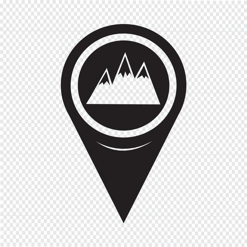 Ícone de montanhas de ponteiro de mapa