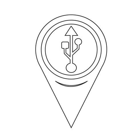 Map Pointer Usb Icon