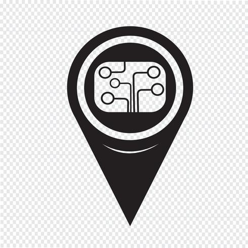 Ícone de placa de circuito de ponteiro de mapa
