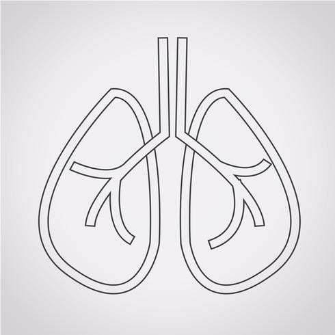 Icono de los pulmones signo símbolo