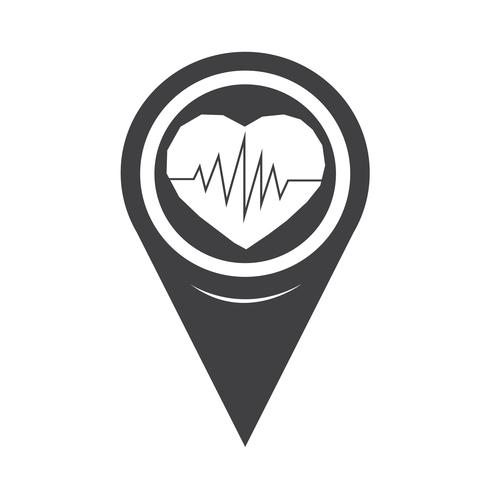 Mapa ponteiro ícone de batimento cardíaco