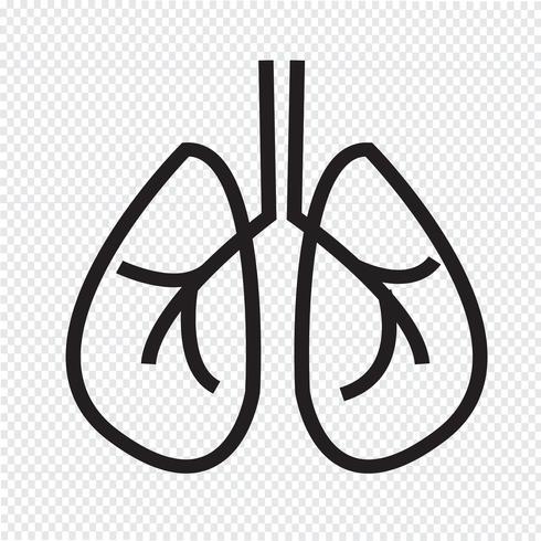 Sinal de símbolo de ícone de pulmões