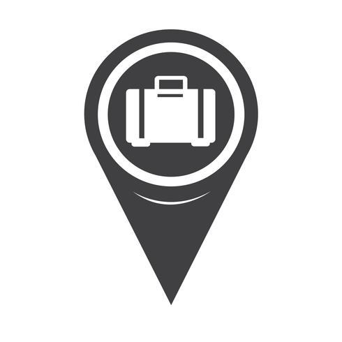 Map Pointer Luggage Icon vector