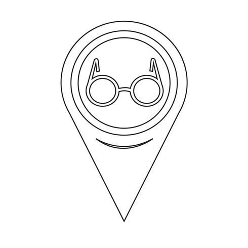 Icono de gafas de puntero de mapa