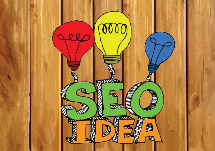 Seo Idea SEO Search Engine Optimization op de houten illustratie van de achtergrondplankentextuur