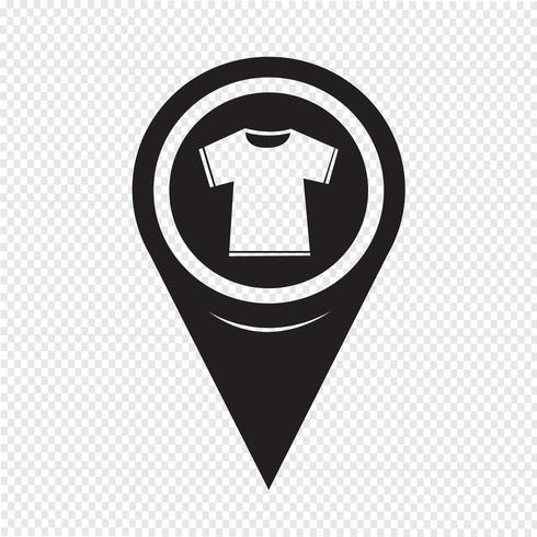 Kaart aanwijzer Tshirt pictogram