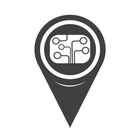 Icono de la placa de circuito del puntero del mapa