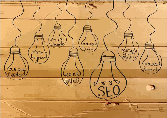 Seo Idea SEO Search Engine Optimization on Cardboard Texture illustration vector