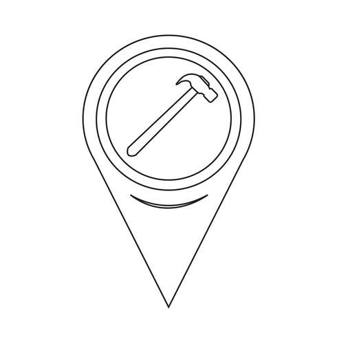 Ícone do martelo de ponteiro de mapa