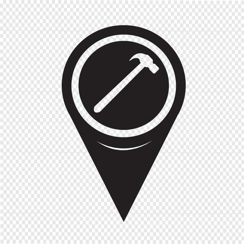 Icona del martello puntatore della mappa