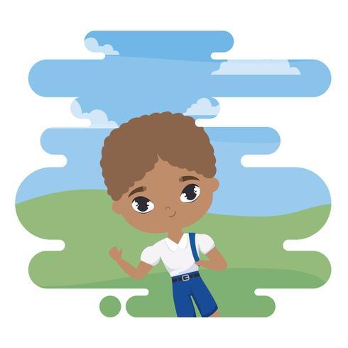 lindo pequeño estudiante chico afro en escena de paisaje vector