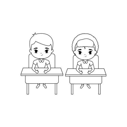 pequeños estudiantes sentados en pupitres vector