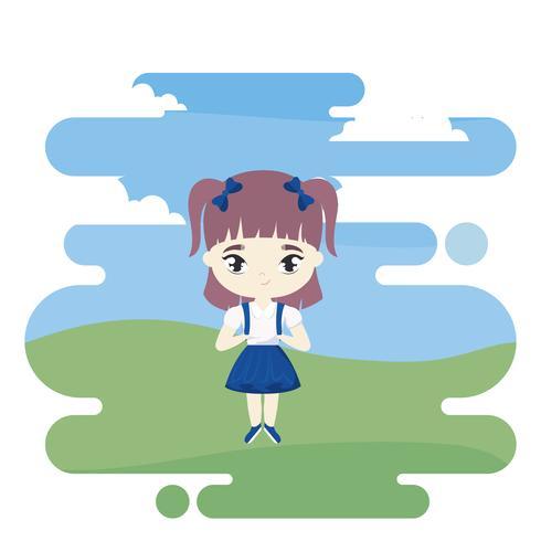 linda chica estudiante poco en la escena del paisaje vector