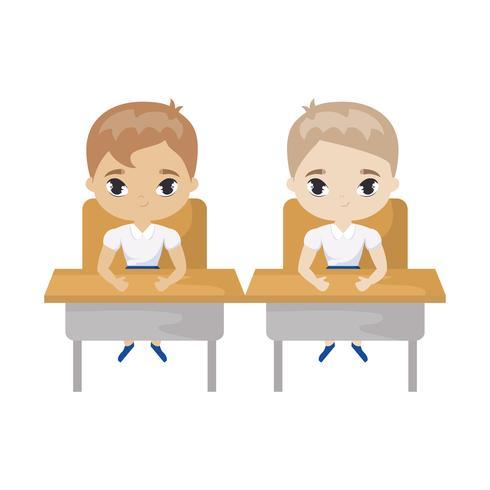 little students seated in school desks