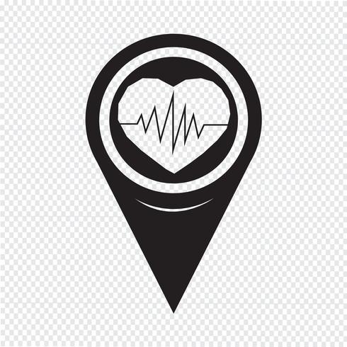 Icona del battito cardiaco del puntatore della mappa