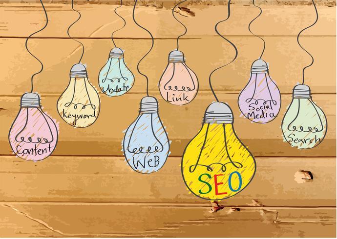 Seo-idé SEO-sökmotoroptimering på kartongstrukturillustration