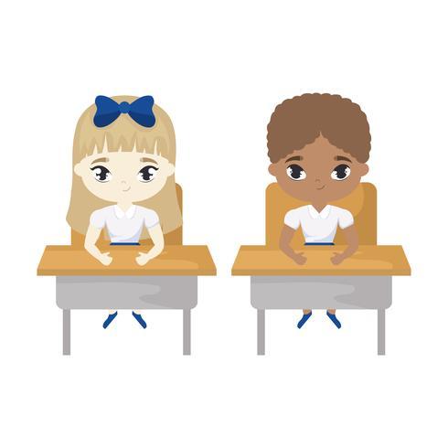 little students seated in school desks vector