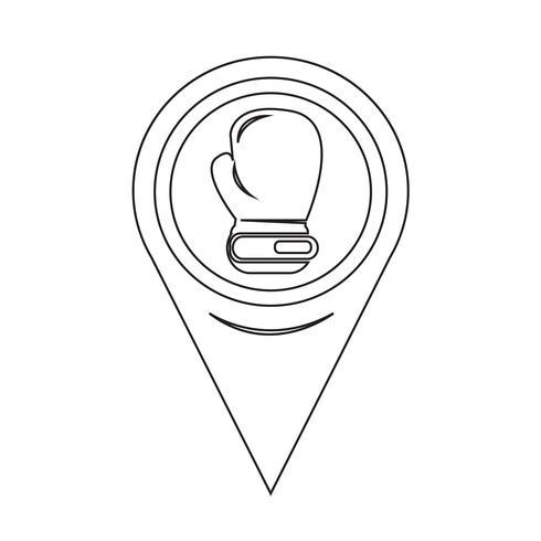 Kaart aanwijzer boksen pictogram