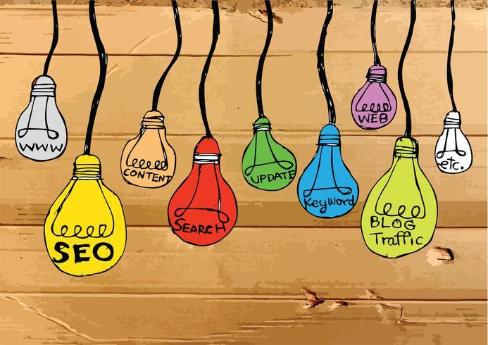 Seo Idea SEO Search Engine Optimization on Cardboard Texture illustration