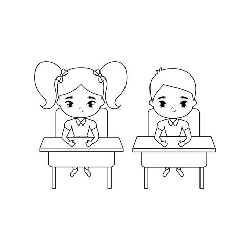 små elever som sitter på skolbänkar