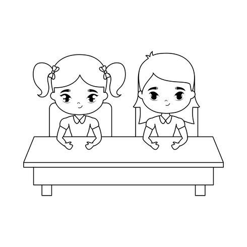little students seated in school desk