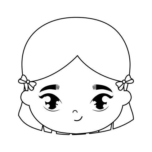 tête de personnage avatar jolie petite fille vecteur