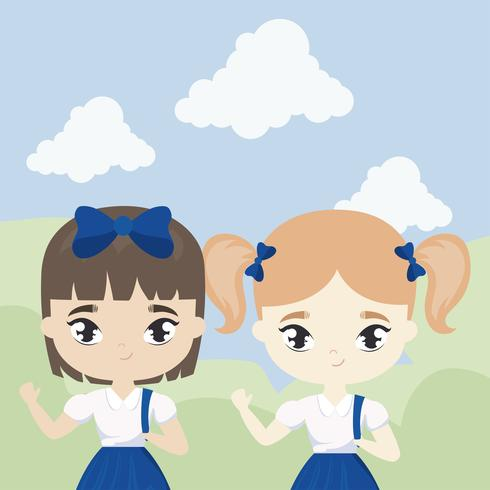 cute little student girls in landscape scene