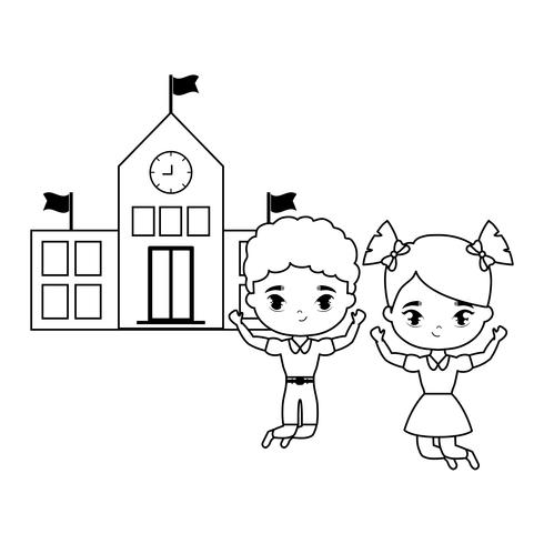 süße kleine Schüler vor der Schule