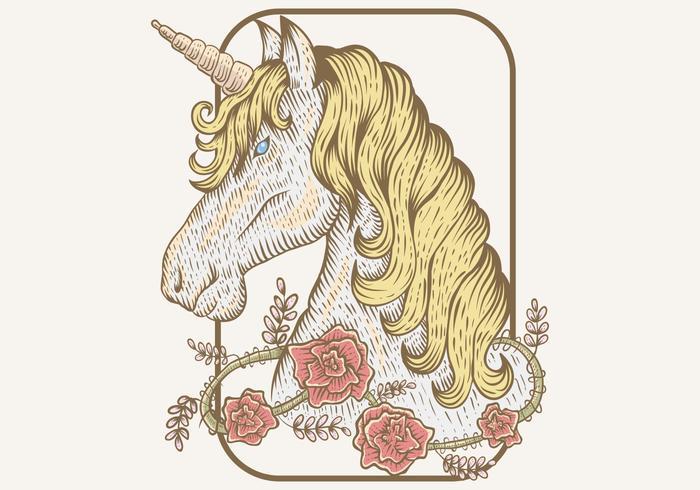 main de fleur de Licorne dessiner illustration vectorielle