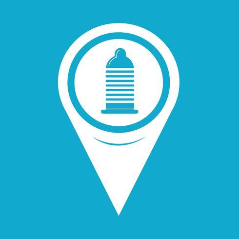 Mapa de puntero icono de condón vector