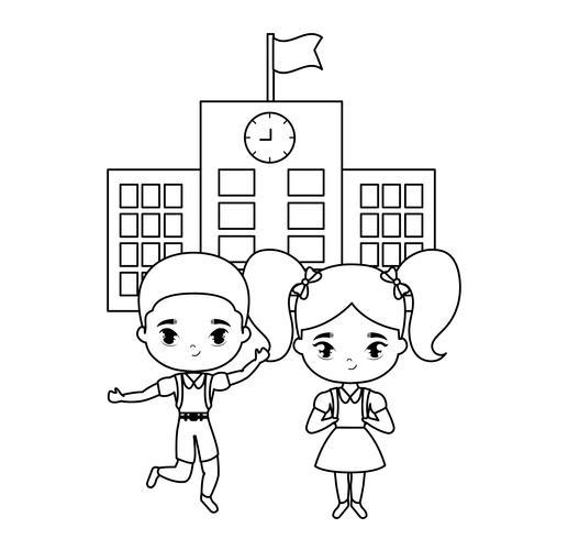 cute little students in front of school
