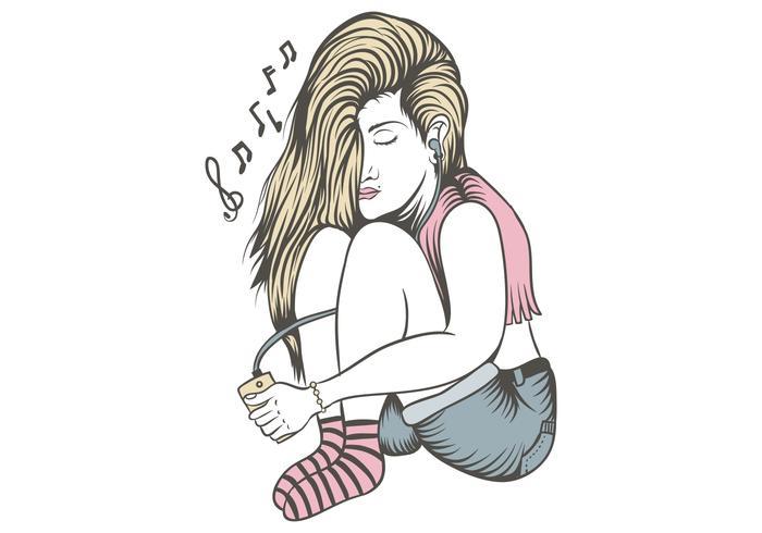 female listen music alone vector illustration